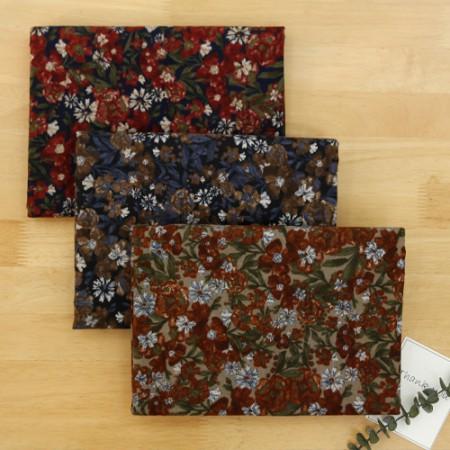 显著 - 拉绒棉织物)复古花(3种)