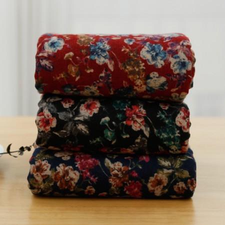 显著 - 拉绒棉织物)盛开的花朵(3种)