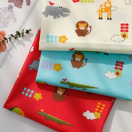 棉混纺织物层压材料)动物王国(3种)