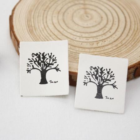 [2个]皮革标签)树
