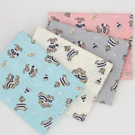 棉混纺织物),兔和熊(4种)