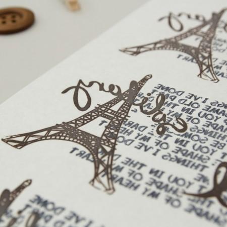 纸转印纸)艾菲尔铁塔刻字(咖啡色)