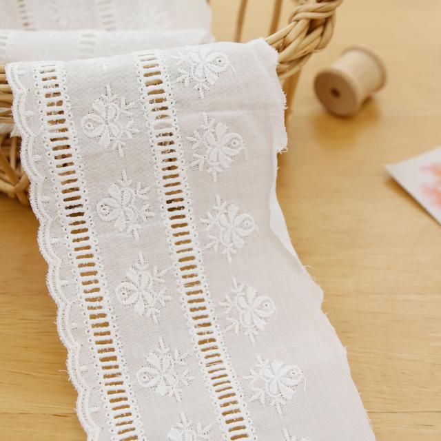 棉花蕾丝棉065花梯白色