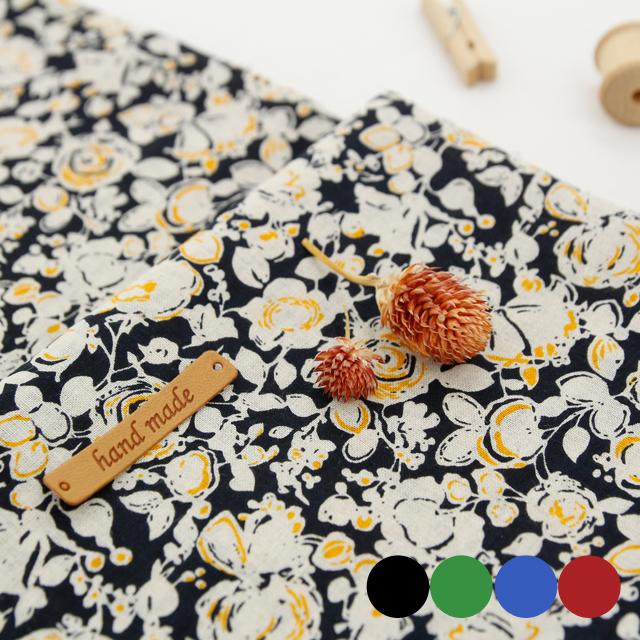 显著 - 亚麻纱质面料)花卉艺术(4种)