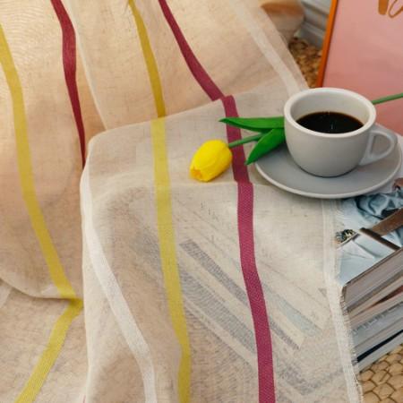 有多宽280cm-豪华床单绣花窗帘)现代条纹(粉色)