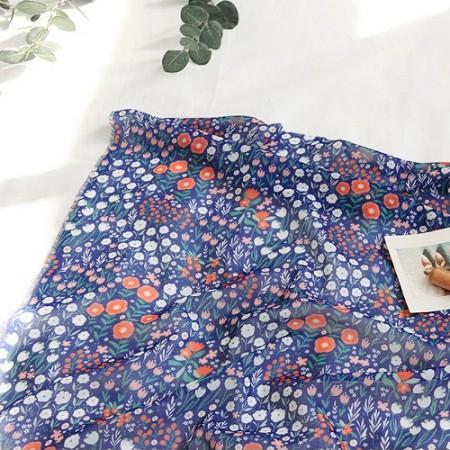 显著 - 雪纺织物)盛开的花园(深蓝色)[081]