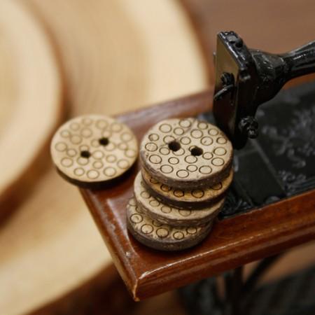 [5个]木按钮)15毫米圆点