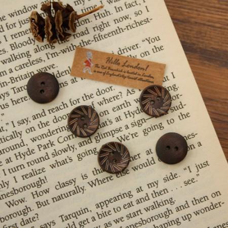 [5个]木按钮)12毫米梳