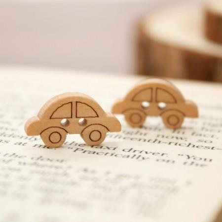 [5个]木按钮)汽车
