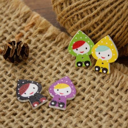 [2个]木按钮)雨衣女孩(4种)