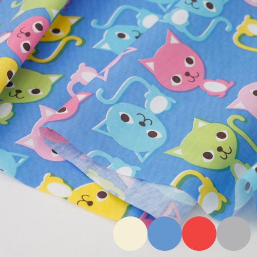 棉混纺织物)彩色猫(4种)