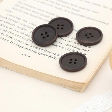 现代法国_25mm [4个]按钮暗棕色