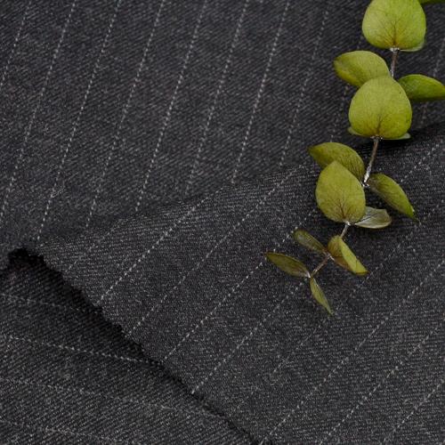 大毛混纺)炭灰色条纹