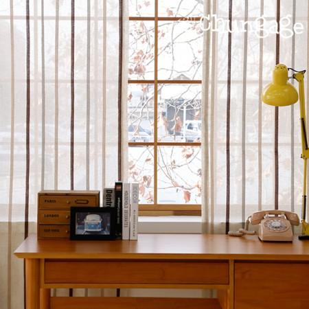 亚麻绣花高档窗帘纸,现代条纹2种,宽280cm