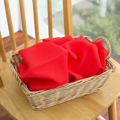 大羊毛亚麻布)红色平纹