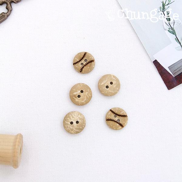 木按钮棒球木制按钮(2件)