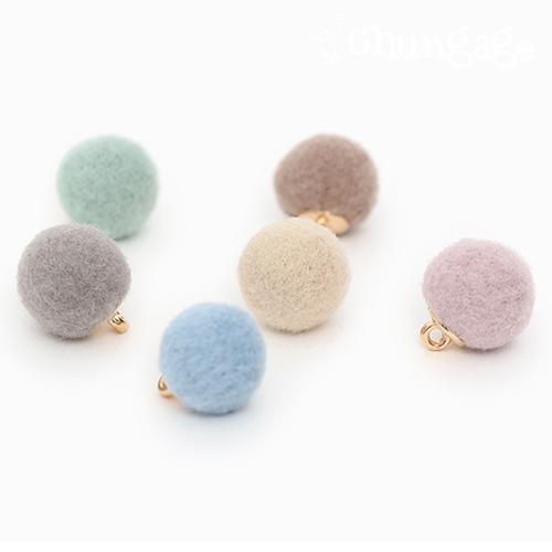 面料纽扣魅力羊毛粉彩球按钮12毫米