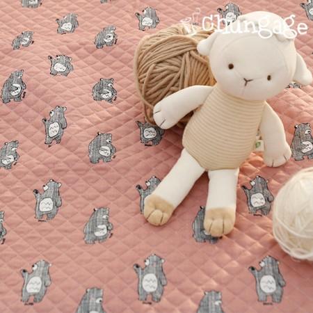 棉20水平直纹面料)国际象棋熊