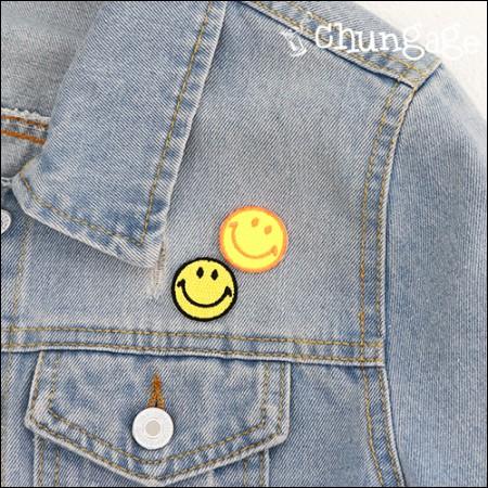 高级刺绣贴片粘合剂风扇基础微笑(2种)[68]