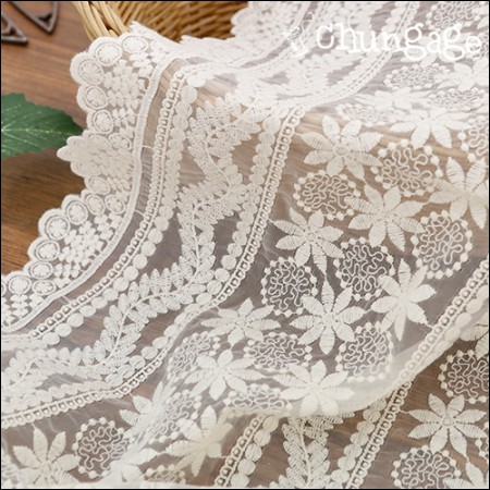 霞多丽蕾丝刺绣面料网眼花边海洋花园(2种)