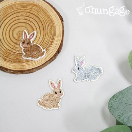 粘性魔杖经典兔子刺绣补丁华夫饼干(3种类型)[088]