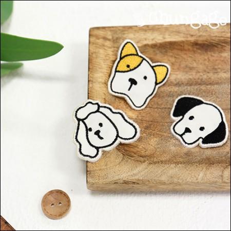 自粘式和扇形狗刺绣贴片华夫饼(3种类型)[087]