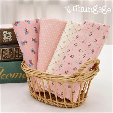 棉20水平编织)粉色圆点(4种)