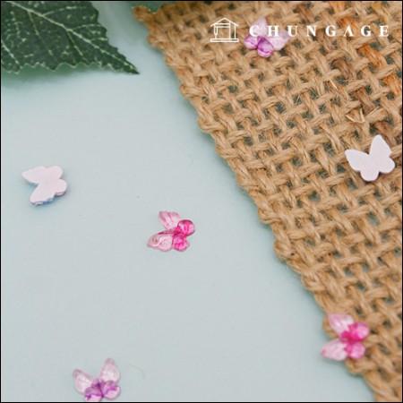 塑料纽扣3种类型,带有2个纽扣,由浪漫迷你蝴蝶胶粘贴