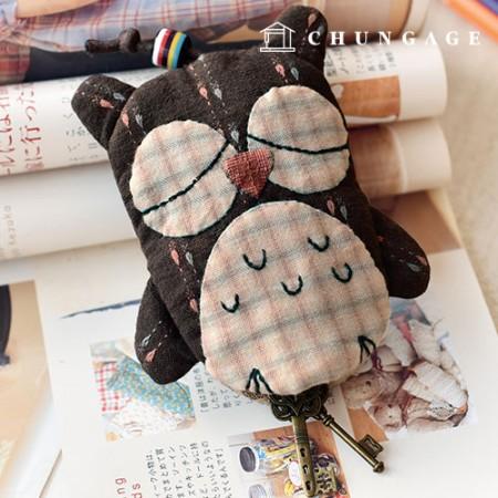 绗缝包DIY套件木制猫头鹰钥匙圈[CH-612697]