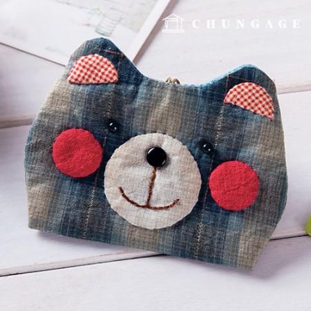 绗缝包DIY套装猩红色熊卡包[CH-613376A]