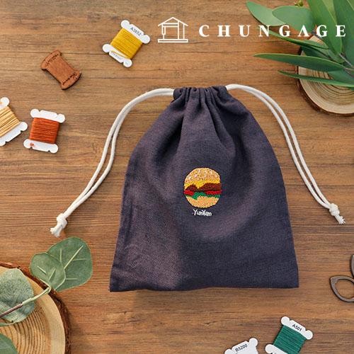 法国刺绣包装DIY套件汉堡橡胶化妆包[CH-560109]
