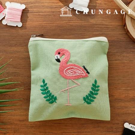 法国刺绣包装DIY套件火烈鸟化妆包[CH-560110]