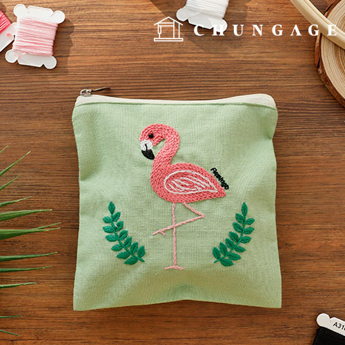 法式刺绣包DIY套装火烈鸟化妆包CH-560110你可以在家做的爱