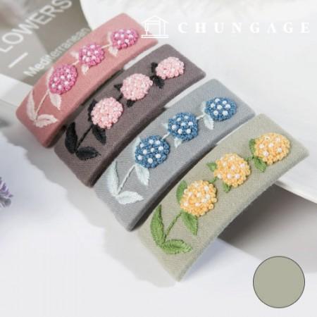 法国刺绣包装花DIY套件绣球发夹绿色CH-512522A