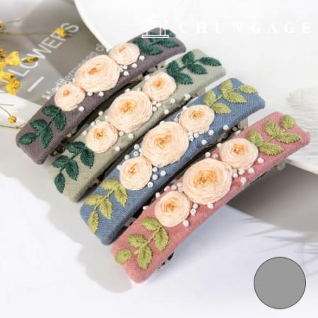 法国刺绣包装花DIY套件玫瑰发夹灰色CH-512527B