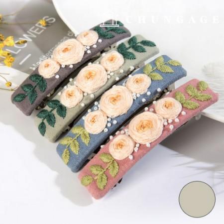 法国刺绣包装花DIY工具包玫瑰发夹绿色CH-512527D
