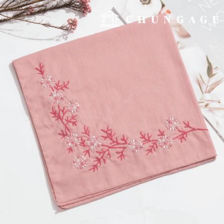 法国刺绣包装花DIY套装雪花花手帕粉色CH-513502