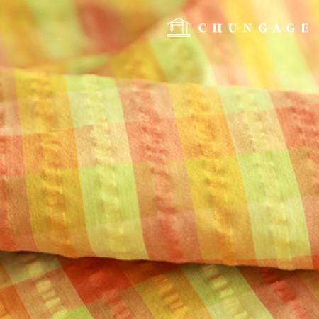 棉混纺30水波纹简单检查橘黄色