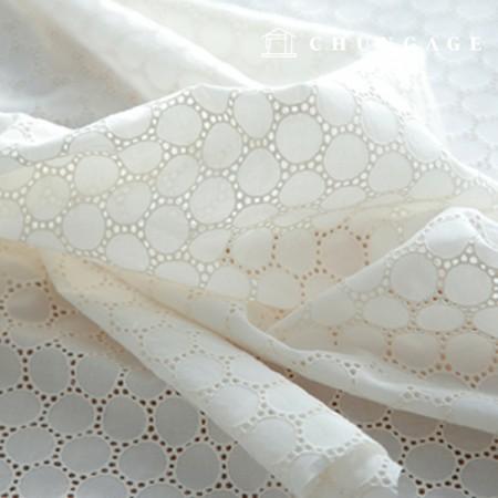 棉蕾丝刺绣面料迷你圆圈自然