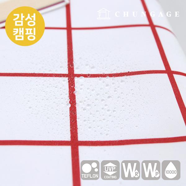情感露营面料,像棉布一样的篷布,明显是现代的方形红色