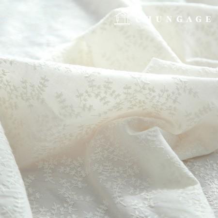 棉蕾丝绣花织物树枝刺绣天然