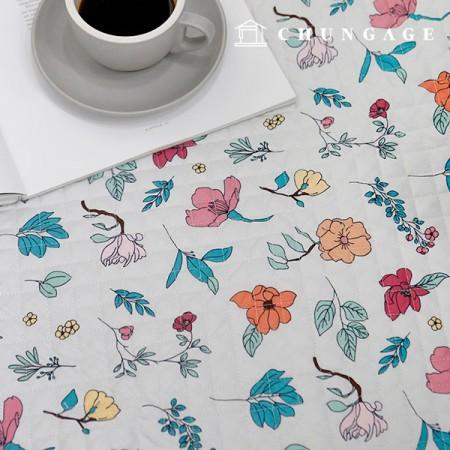 20纯棉平纹布布料棉衣面料植物花