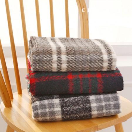 3种限量羊毛混纺渐变色格子大衣面料Libre