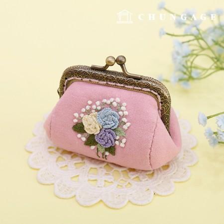 法国刺绣包装花DIY套件玫瑰绒球零钱包粉色CH-511860A