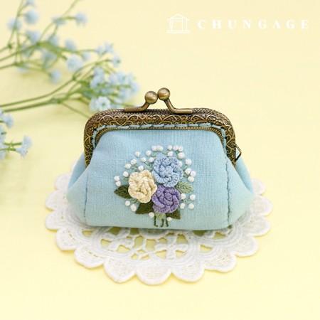 法国刺绣包装花DIY套件玫瑰Pom Pong零钱包蓝色CH-511860B