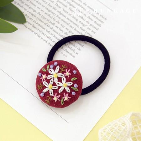 法国刺绣包装花DIY套装弹簧花发滴酒红色CH-512568B