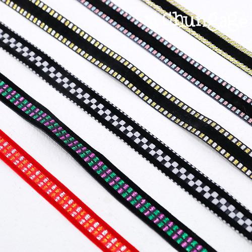 天鹅绒丝带带天鹅绒绣花丝带带15mm 6种棉绳