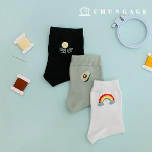 法国刺绣包装花DIY套装男女刺绣袜子黑白色薄荷3枚CH-560201B爱家