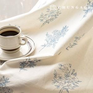 亚麻织物宽棉亚麻织物arion花卉图案花复古/仿旧